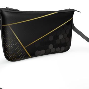 black gold pochette bag