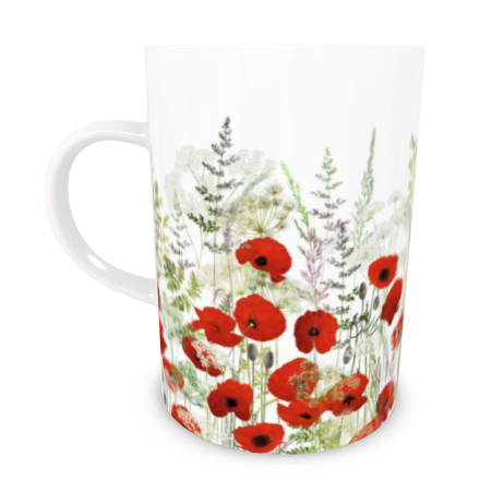 Tall Bone China Mug - Poppy Field