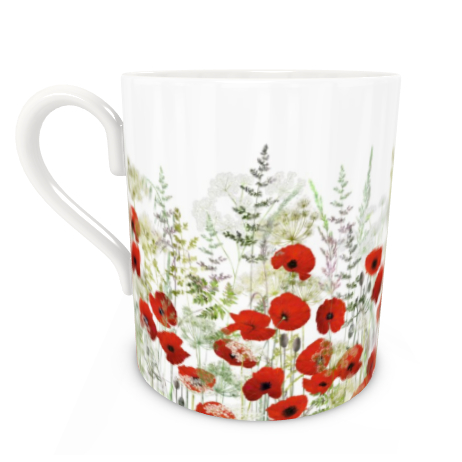 Large Bone China Mug - Poppy Field