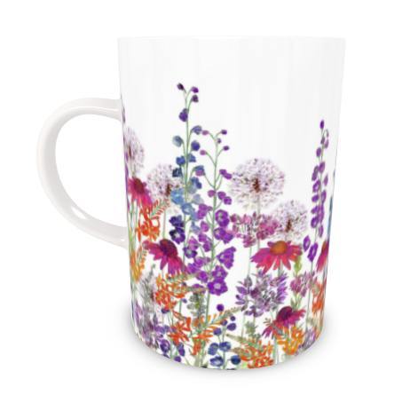 Tall Bone China Mug - Summertime Symphony