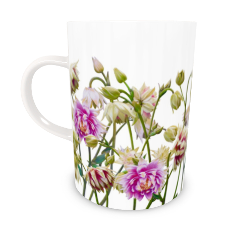 Tall Bone China Mug - Aquilegia