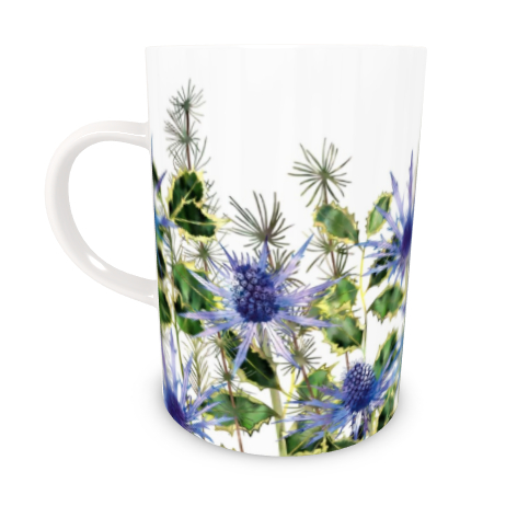 Tall Bone China Mug - Holly Bouquet