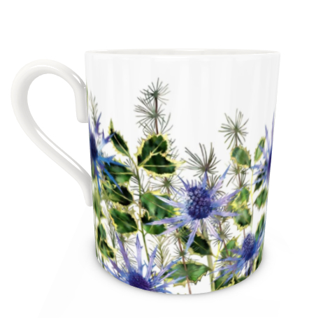 Large Bone China Mug - Holly Bouquet