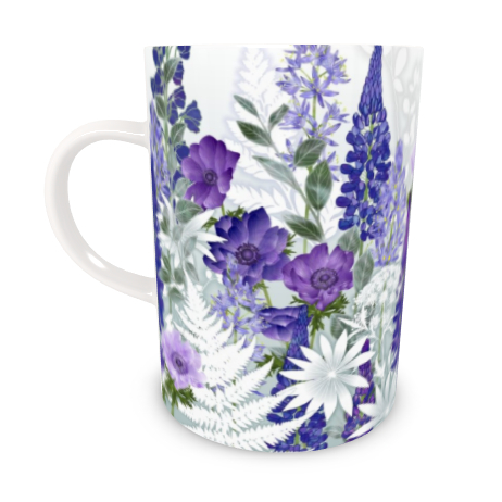 Tall Bone China Mug - Daydream In Blue