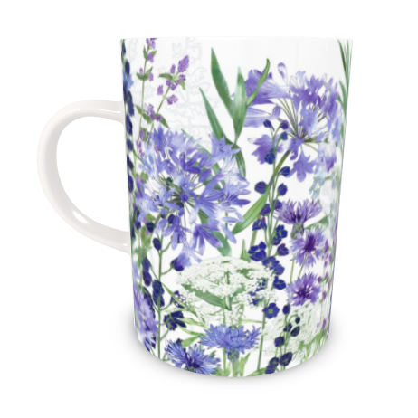 Tall Bone China Mug - Agapanthus Meanderings