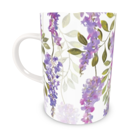Tall Bone China Mug - Wisteria Blossoms