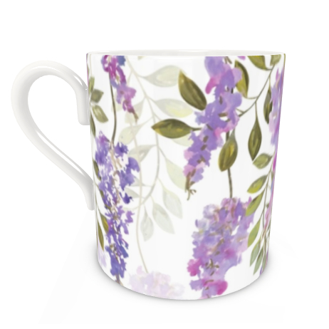 Large Bone China Mug - Wisteria Blossoms
