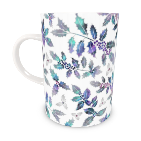 Tall Bone China Mug - Holly Madness