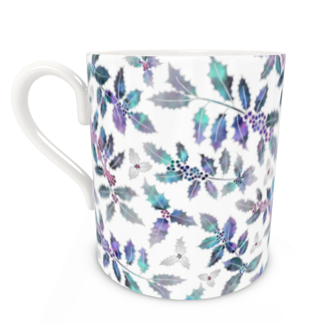 Large Bone China Mug - Holly Madness