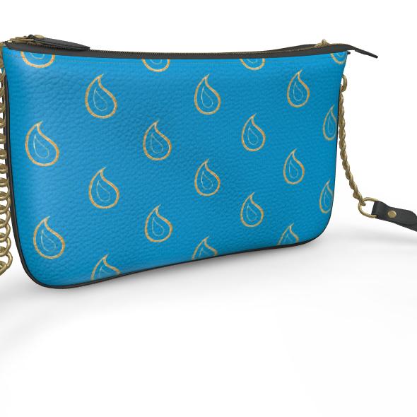 Paisley Drops on Petrol Blue Pochette Double Zip Bag