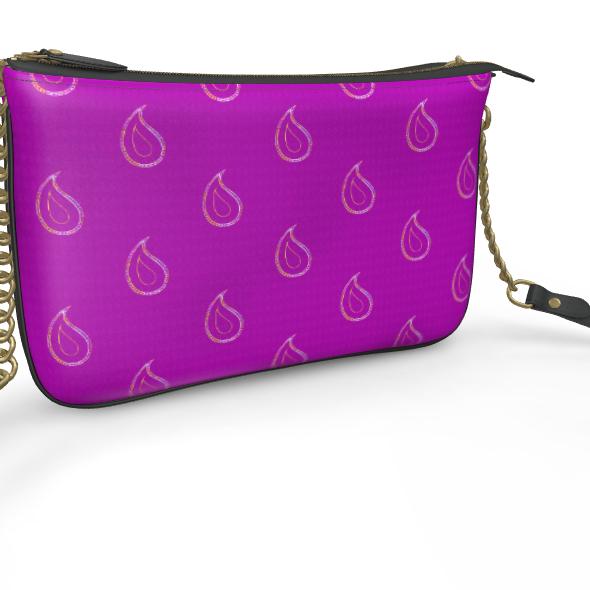 Paisley Drops On Purple Pochette Double Zip Bag