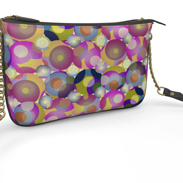 Moon Collection on cream Pochette Double Zip Bag