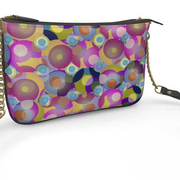 Moon Collection on blue loading design Pochette Double Zip Bag
