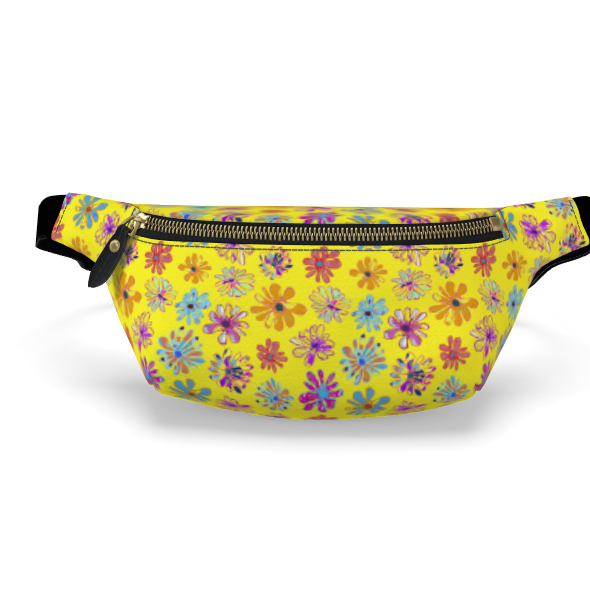 Rainbow Daisies Collection on yellow Womens Bumbag