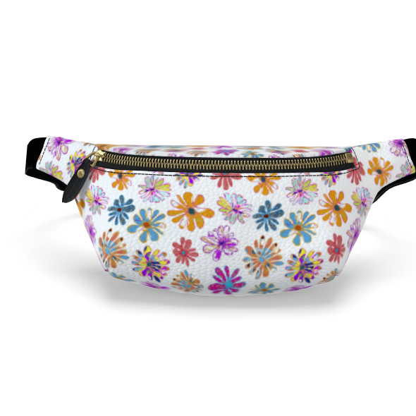 Rainbow Daisies Collection on white Womens Bumbag