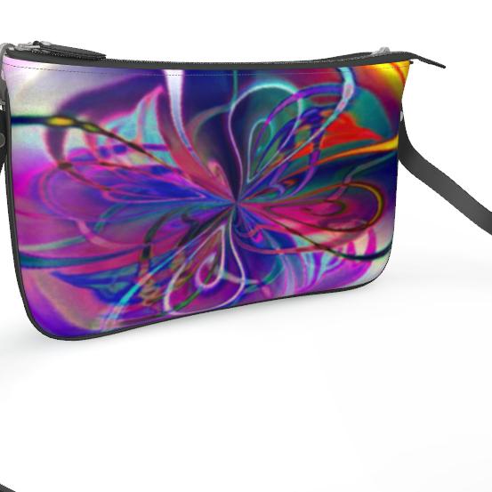 Pochette Double Zip Bag Purple Flower