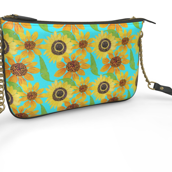 Naive Sunflowers On Turquoise Pochette Double Zip Bag
