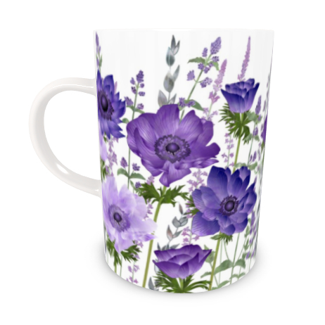 Tall Bone China Mug - The Morning Anemone Patch