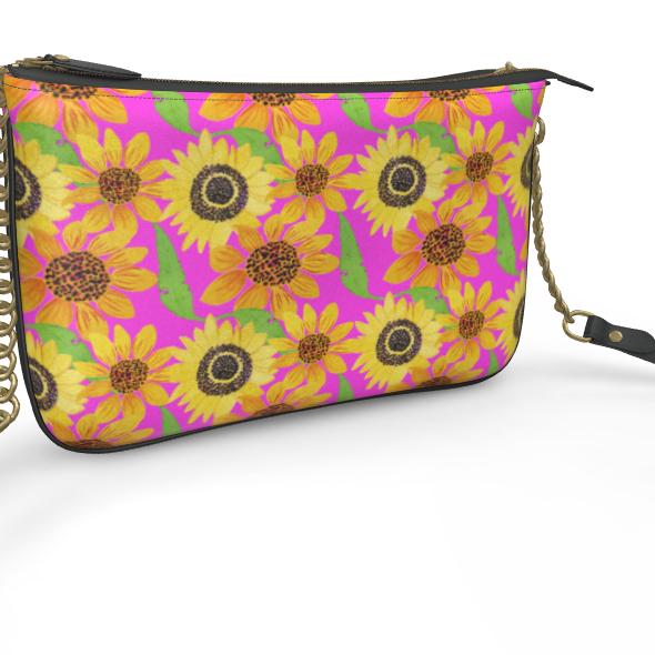 Naive Sunflowers On Fuchsia Pochette Double Zip Bag