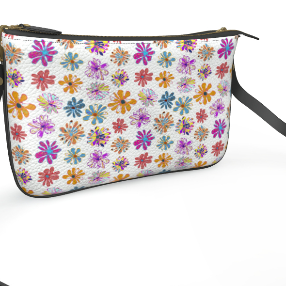 Rainbow Daisies Collection On White Pochette Double Zip Bag