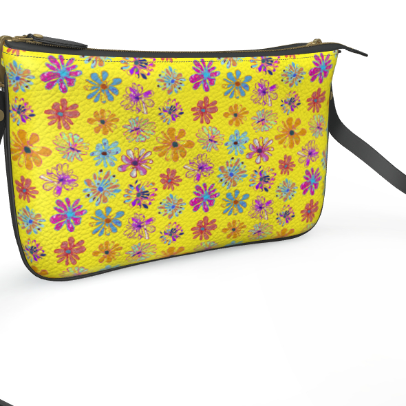 Rainbow Daisies Collection on yellow Pochette Double Zip Bag