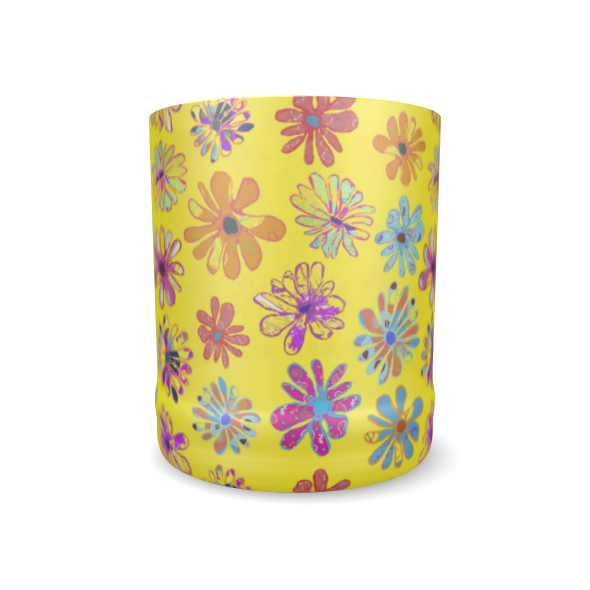 Rainbow Daisies Collection on yellow Whisky Glass