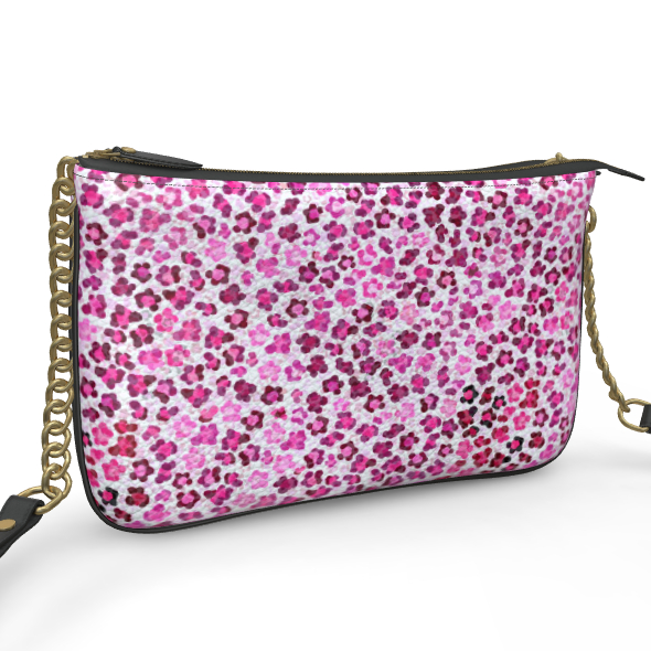Leopard Skin in Magenta Collection Pochette Double Zip Bag