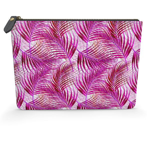 Tropical Garden Collection in Magenta Leather Pouch