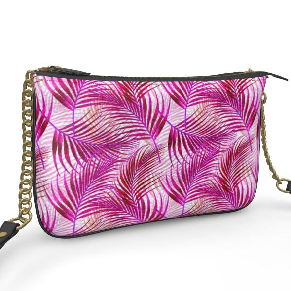 Tropical Garden Collection in Magenta Pochette Double Zip Bag
