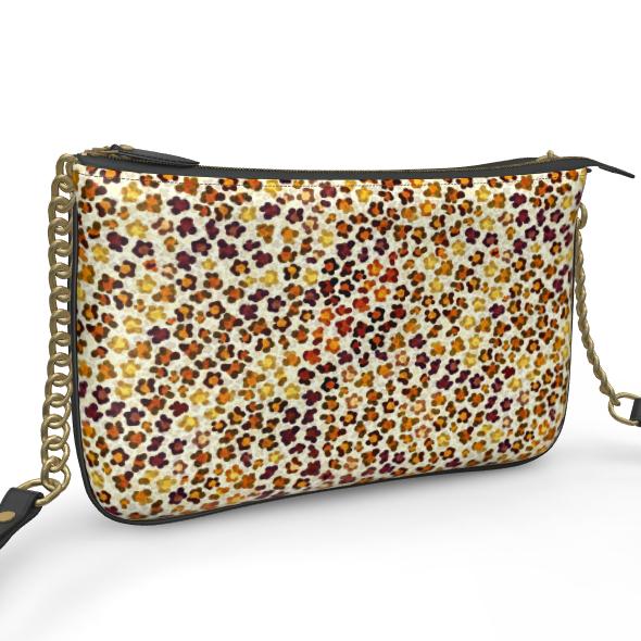 Leopard Skin Collection Pochette Double Zip Bag