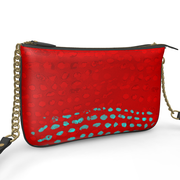 Textural Collection in red and turquoise Pochette Double Zip Bag