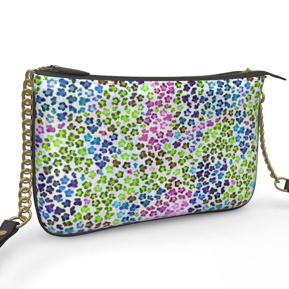 Leopard Skin Multicoloured Collection Pochette Double Zip Bag