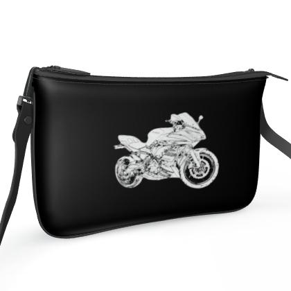 Pochette Double Zip Bag - Superbike Sketch