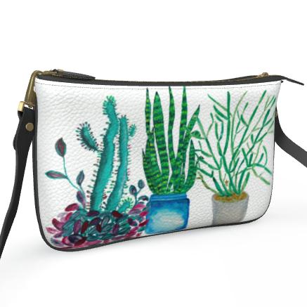 Succulent Love Double Zip Crossbody Leather Bag