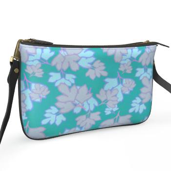 Pochette Double Zip Bag Oriental leaves on teal