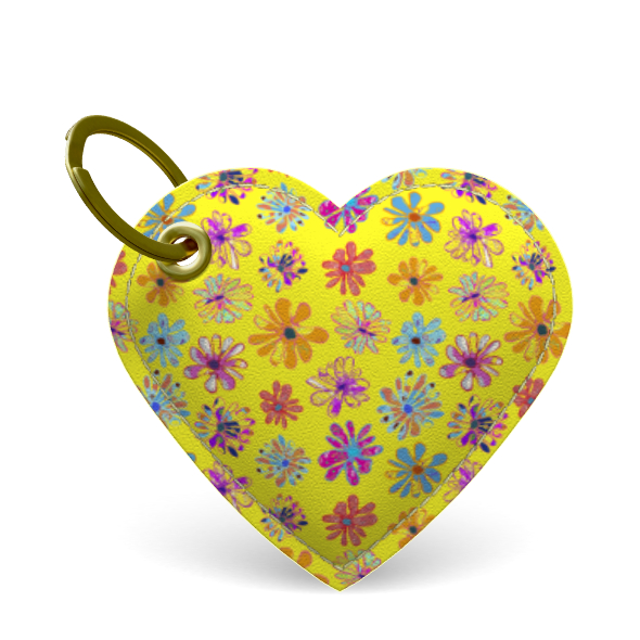Rainbow Daisies Collection on yellow Premium Painted Edge Keyring
