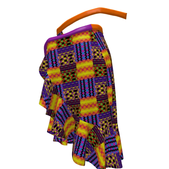 Neon Party Kente Flounce Skirt