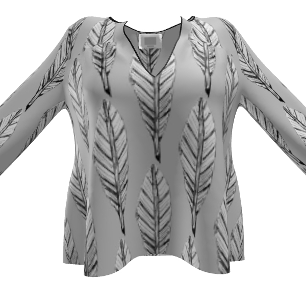 Black and White Feather Women's Blouse