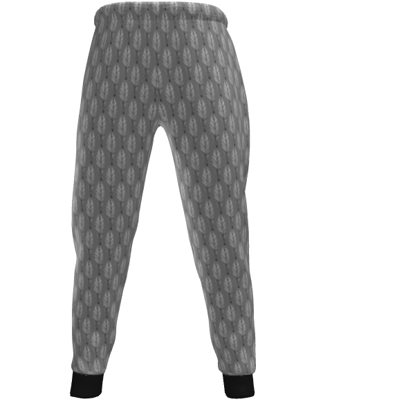 Black and White Feather Mens Jogging Bottoms