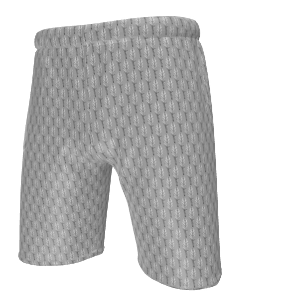 Black and White Feather Mens Sweat Shorts