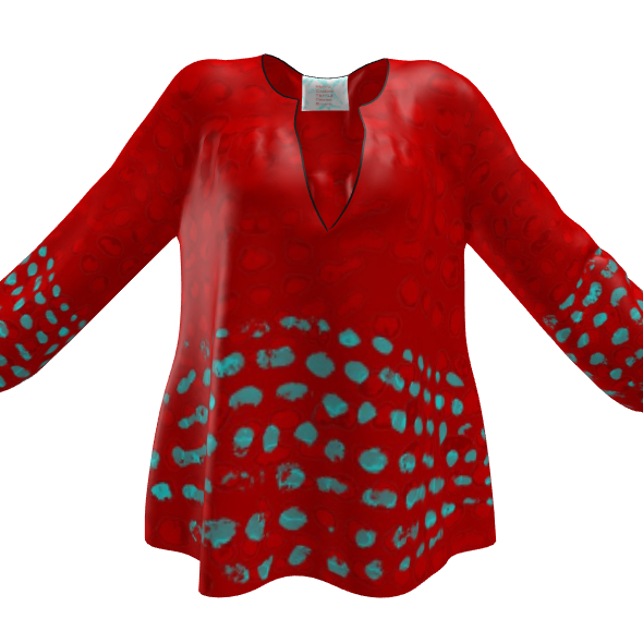 Textural Collection in red and turquoise Womens Blouse