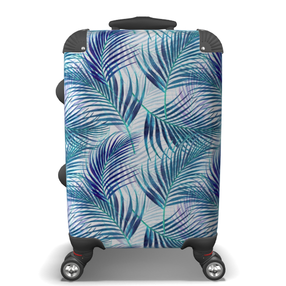 Tropical Garden in Blue Collection Suitcase