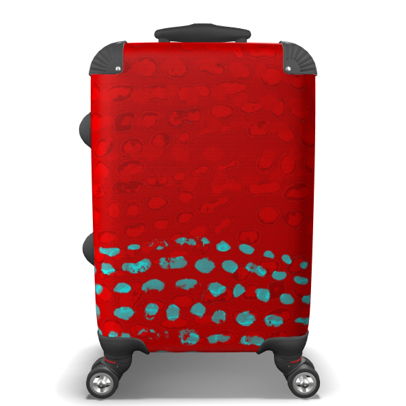 Textural Collection in red and turquoise Suitcase