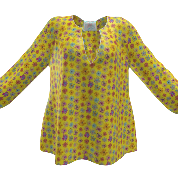 Rainbow Daisies Collection on yellow Womens Blouse