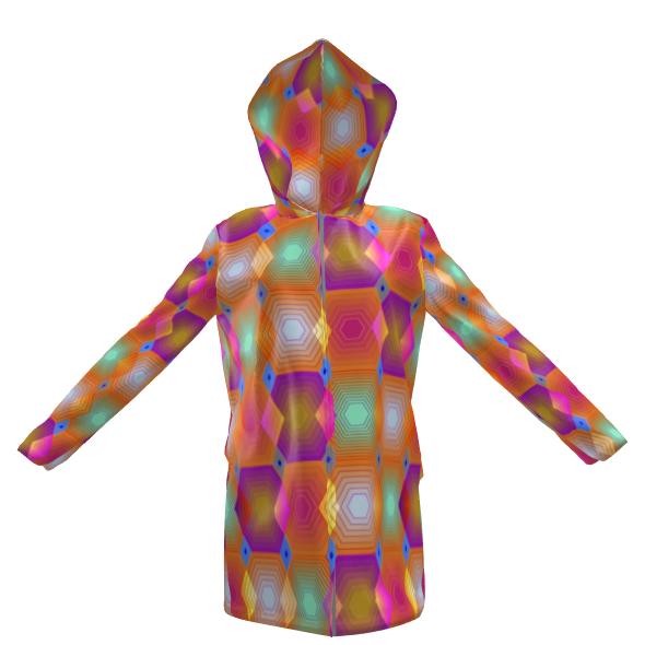 Geometrical Shapes Collection Womens Hooded Rain Mac