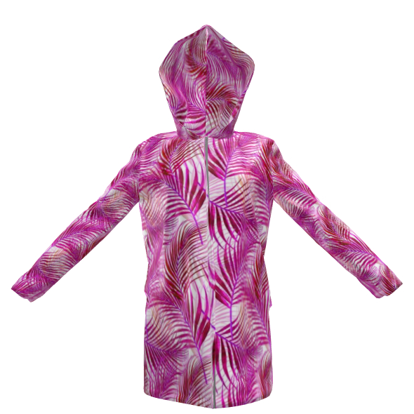 Tropical Garden in Magenta Collection Womens Hooded Rain Mac