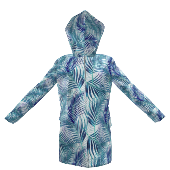 Tropical Garden in blue Collection Womens Hooded Rain Mac
