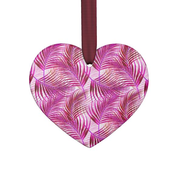 Tropical Garden in Magenta Collection Hand Made Flat Ornaments