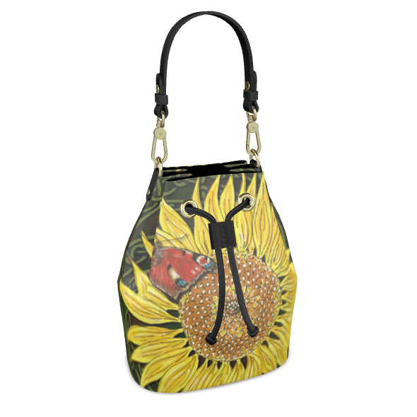 Sunflower and Butterfly Bucket Bag