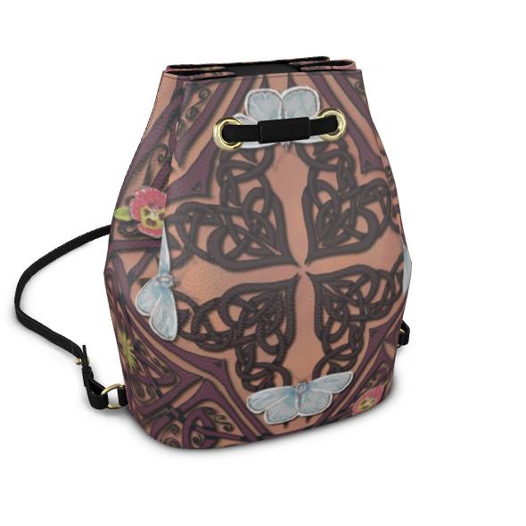Celtic Cross Blue Butterflies Bucket Backpack
